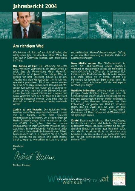 Jahresbericht 2004 - Österreich Wein