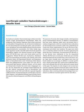 Lasertherapie vaskulärer Hautveränderungen ± Aktueller Stand
