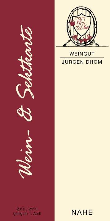 Aktuelle Weinkarte - Weingut Jürgen Dhom