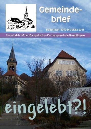 Gemeindebrief Dezember 2012 bis März 2013 - Evang ...