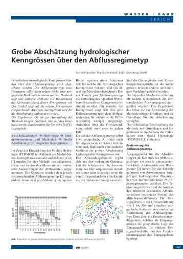 Grobe Abschätzung hydrologischer Kenngrössen über den ...
