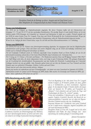 MPG-Info Ausgabe 1 / 2010 - Max-Planck-Gymnasium Göttingen