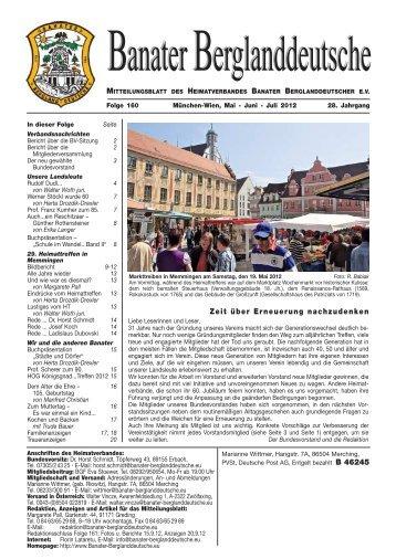 Zeit über Erneuerung nachzudenken - Banater Berglanddeutsche