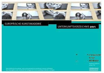 europäische kunstakademie unterkunftsverzeichnis 2013