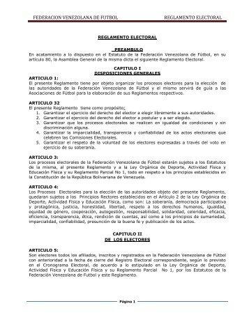 FEDERACION VENEZOLANA DE FUTBOL REGLAMENTO ELECTORAL