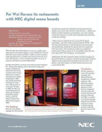 Case Study Pei Wei Flavors Its Restaurants - NEC Display Solutions