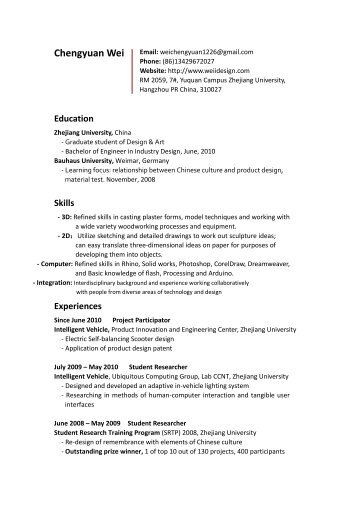 Customer Service Skills Resume Resume Of Chiu Weiyi Skills Listed On Resume Word with Career Kids My First Resume My Resume  Pdf   Chengyuan Wei Example Of A College Resume Pdf