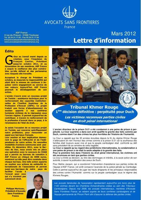 Lettre d'information 03-2012 FR - Avocats Sans Frontières France