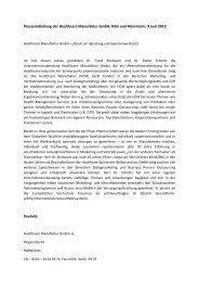 Pressemitteilung der Healthcare Manufaktur GmbH, Köln und ...