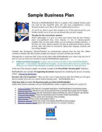 Jian business plan