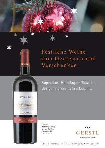 Festliche Weine zum Geniessen und ... - Gerstl Weinselektionen