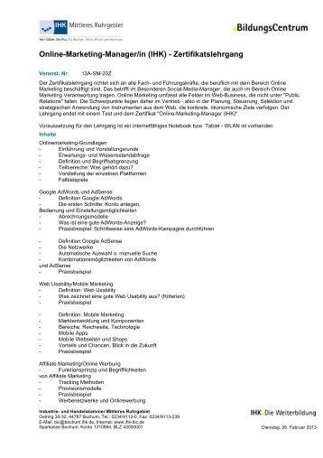 Online-Marketing-Manager/in (IHK) - Zertifikatslehrgang