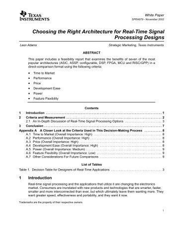 Choosing the Right Architecture for Real-Time ... - Texas Instruments