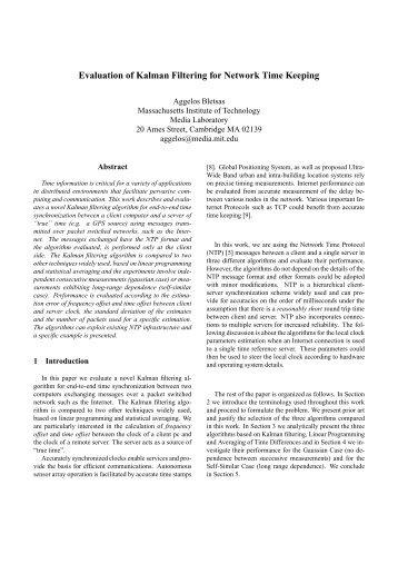 Evaluation of Kalman Filtering for Network Time ... - MIT Media Lab