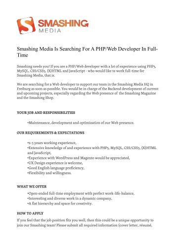 Smashing Media Is Searching For A PHP/Web Developer In Full- Time