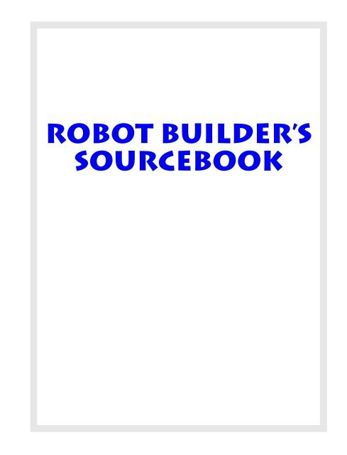 Robot Builders Sourcebook