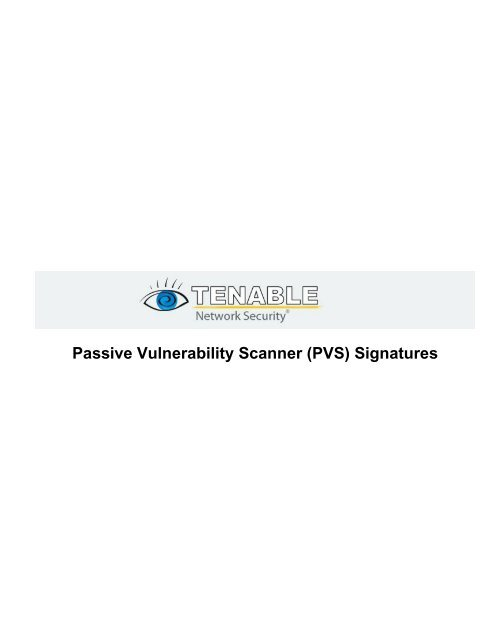 PVS) Signatures - Tenable Network Security