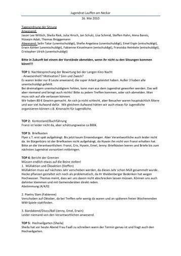 Protokoll Mai 2010 - Stadt Lauffen am Neckar