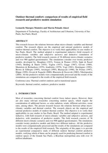 Outdoor thermal comfort: comparison of results of empirical ... - nceub