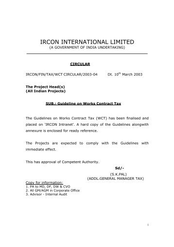 Guideline on WCT - IRCON's INTRANET SYSTEM!!!