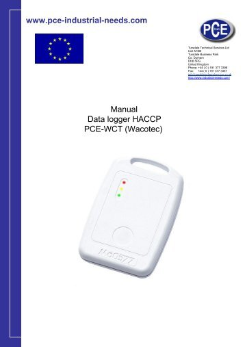 www.pce-industrial-needs.com Manual Data logger HACCP PCE ...