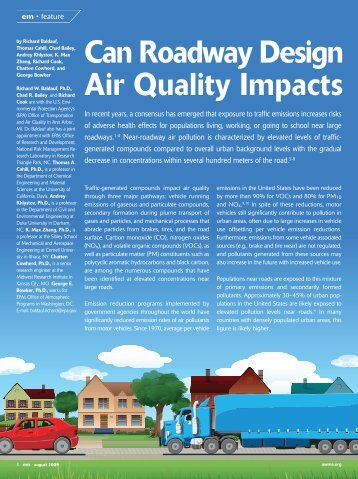 Can Roadway Design Air Quality Impacts - Energy and Environment