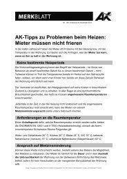 Mieter müssen nicht frieren - AK - Tirol