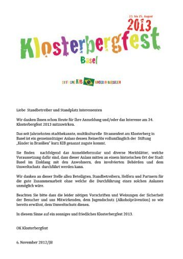 Klosterbergfest 2013 Elektro-Bestell-Formular Stand-Nr.