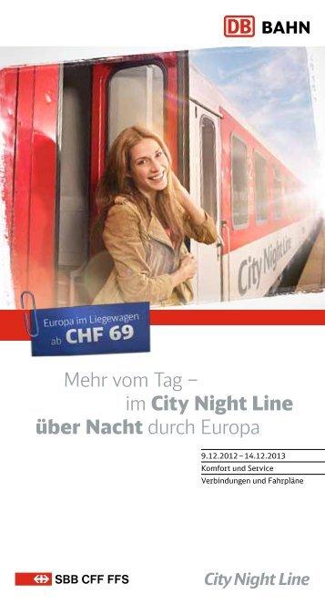 im City Night Line über Nacht durch Europa - CityNightLine.ch
