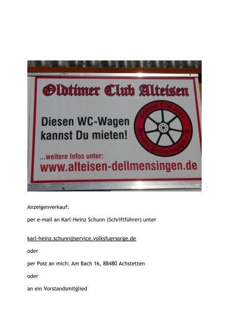 Werbetafeln am WC - Alteisen Dellmensingen
