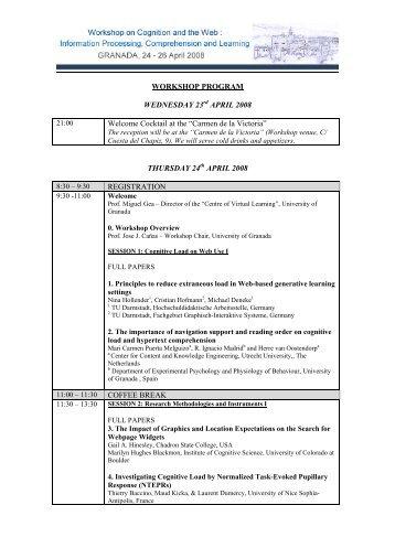 WCW 2008 - Provisional Programme - Cognitive Ergonomics Group