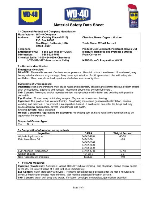Material Safety Data Sheet Msds Wd 40 Company