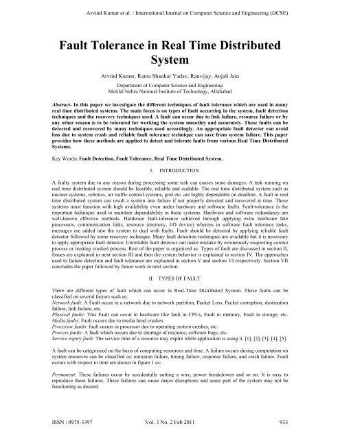 Fault Tolerance in Real Time Distributed System - Engg Journals
