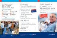 Einladung zur SCHWEIZER Hausmesse 2013 - Schweizer Optik