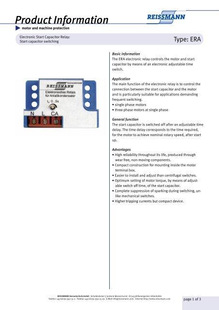 Starting relay for starter capacitors - Reissmann Sensortechnik GmbH