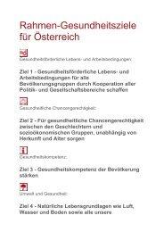 Rahmengesundheitsziele Österreich - Public Health