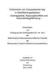 Vorkommen von Campylobacter spp. in ... - Universität Bonn