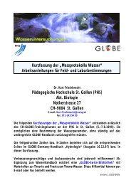 """Kurzfassung der """"Messprotokolle Wasser ... - GLOBE"""