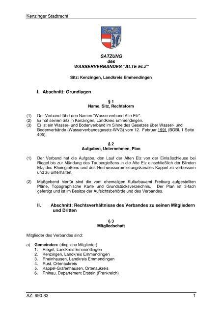 690.83 Satzung Wasserverband Alte Elz - Kenzingen