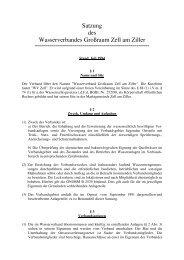 Satzung des Wasserverbandes Großraum Zell am Ziller