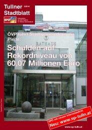 Schulden auf Rekordniveau von 60,07 Millionen Euro - SPÖ ...
