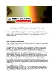 Wahlprogramm für den Ortsrat - SPD-Baccum