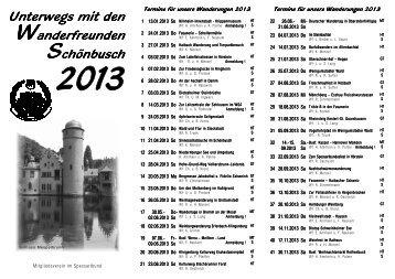 Flyer mit Wanderplan 2013 (PDF) - Wanderfreunde Schönbusch