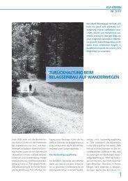 Fachartikel aus dem Magazin «INFORAUM - Schweizer Wanderwege