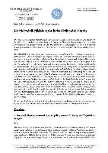 Die Maltechnik Michelangelos in der Sixtinischen Kapelle - Oskar ...