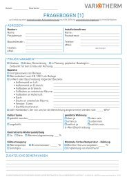 Fragebogen für Angebot mit Kühllastberechnung - Variotherm
