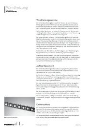 Auszug technische spezifikation wandheizung