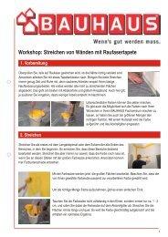 Workshop: Streichen von Wänden mit Raufasertapete - Bauhaus
