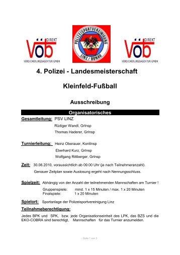 4. Polizei - Landesmeisterschaft Kleinfeld-Fußball Ausschreibung ...
