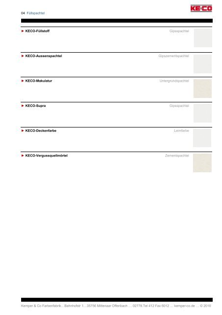 . . Kemper & Co Farbenfabrik…Bahnhofstr 1…35756 Mittenaar ...
